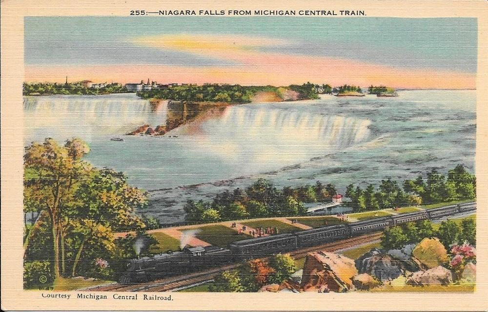 Niagara falls from micgan central train linen postcard