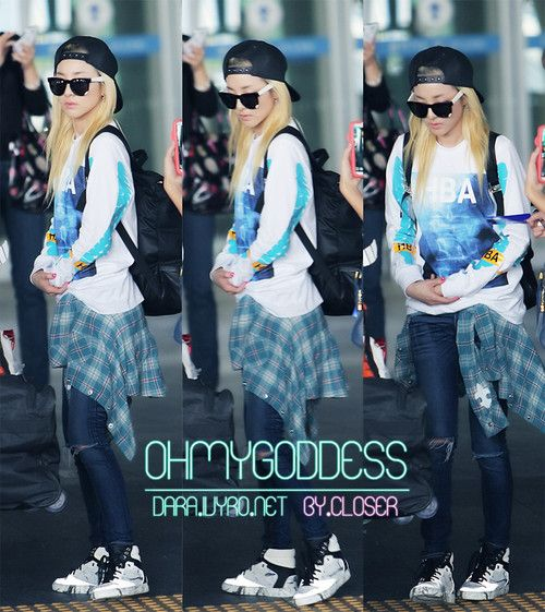 2ne1 sandara park airport fashion kpop idol airport
