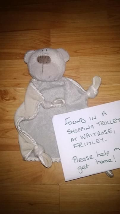 FOUND in the Waitrose, in Frimley, Surrey UK.  This light brown teddy blanky was found in the Waitrose. He has a name and is obviously loved. Contact: https://www.facebook.com/EmjayRagestar or https://www.facebook.com/TeddyBearLostAndFound