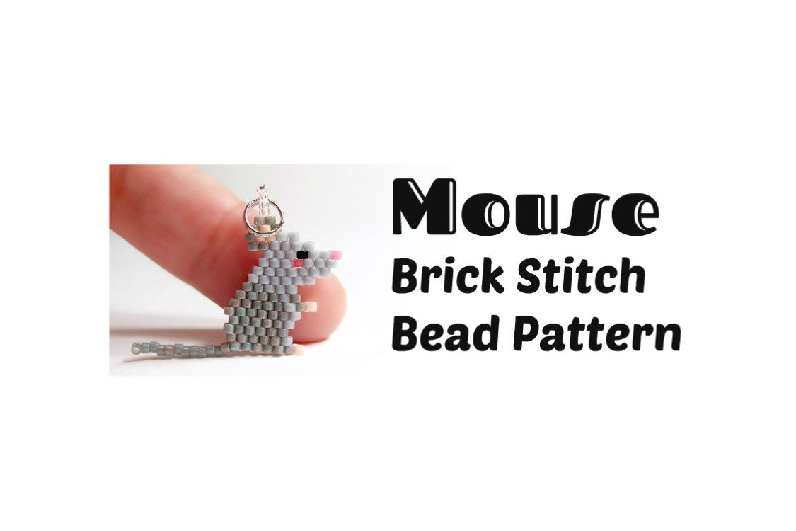 Mouse Brick Stitch Pattern Delica Seed Bead Weaving by BeadCrumbs