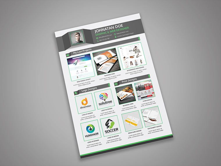 CV #Resume with #Portfolio Page  #Cover #Letter - PSD Template