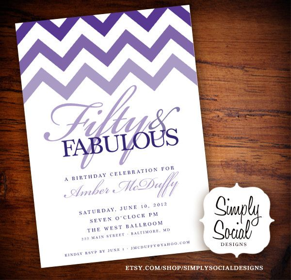 Ombre Chevron Th Birthday Party Invitation  Invitation Designs