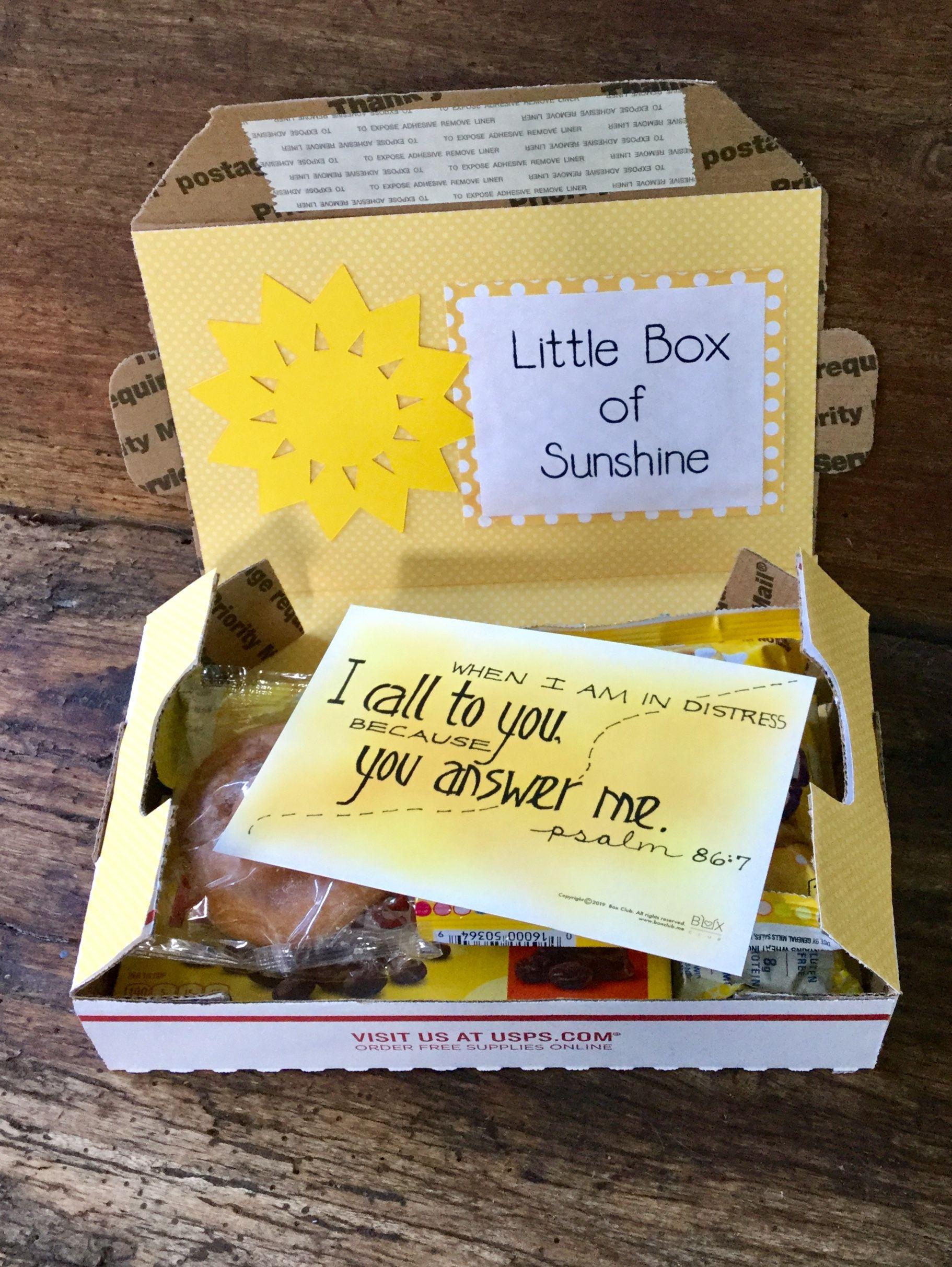 Box Of Sunshine Mini Box Club Box Of Sunshine Sunshine Care Package Get Well Gifts
