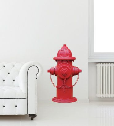 Red fire hydrant wall decal on wanelo