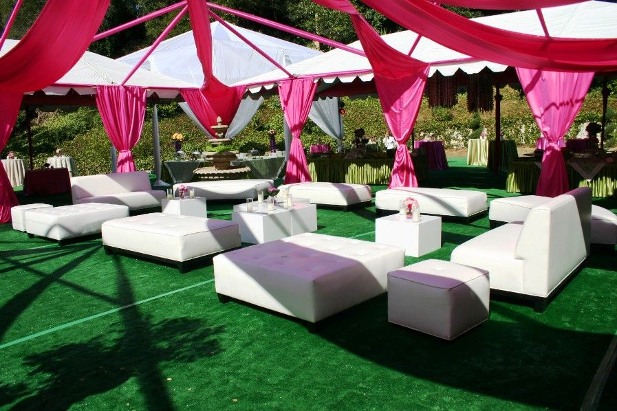 Outdoor Event With Clear Tent Fuschia Line Swagging And