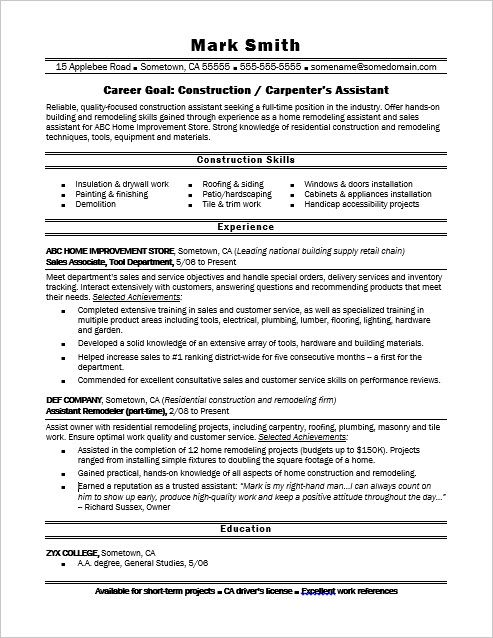 Sample Carpenter Resume Extraordinary Build A Strong Foundation For Your Career In Construction Or .
