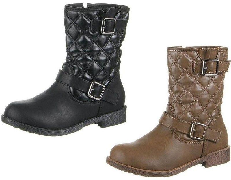 Meisjes laarzen enkellaarzen ruitmotief zwart khaki bruin 24-36