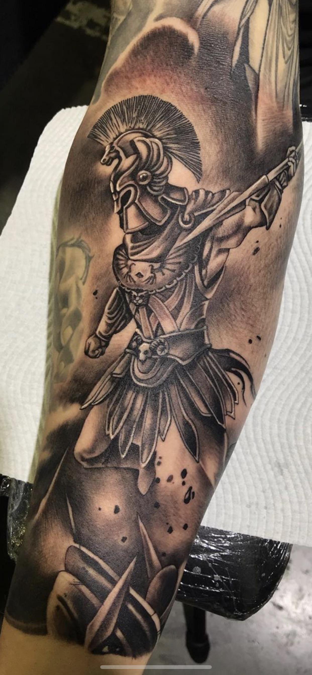Final Part Of My Greek God Sleeve Ares By Tama From Phresh Ink In Gold Coast Aus Greek Tattoos Mythology Tattoos Gladiator Tattoo