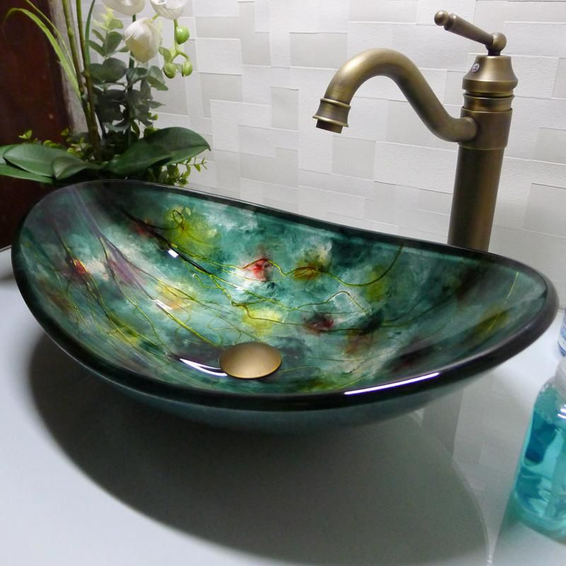 Best Bathroom Tempered Glass Sink Handcraft Counter Top Boat