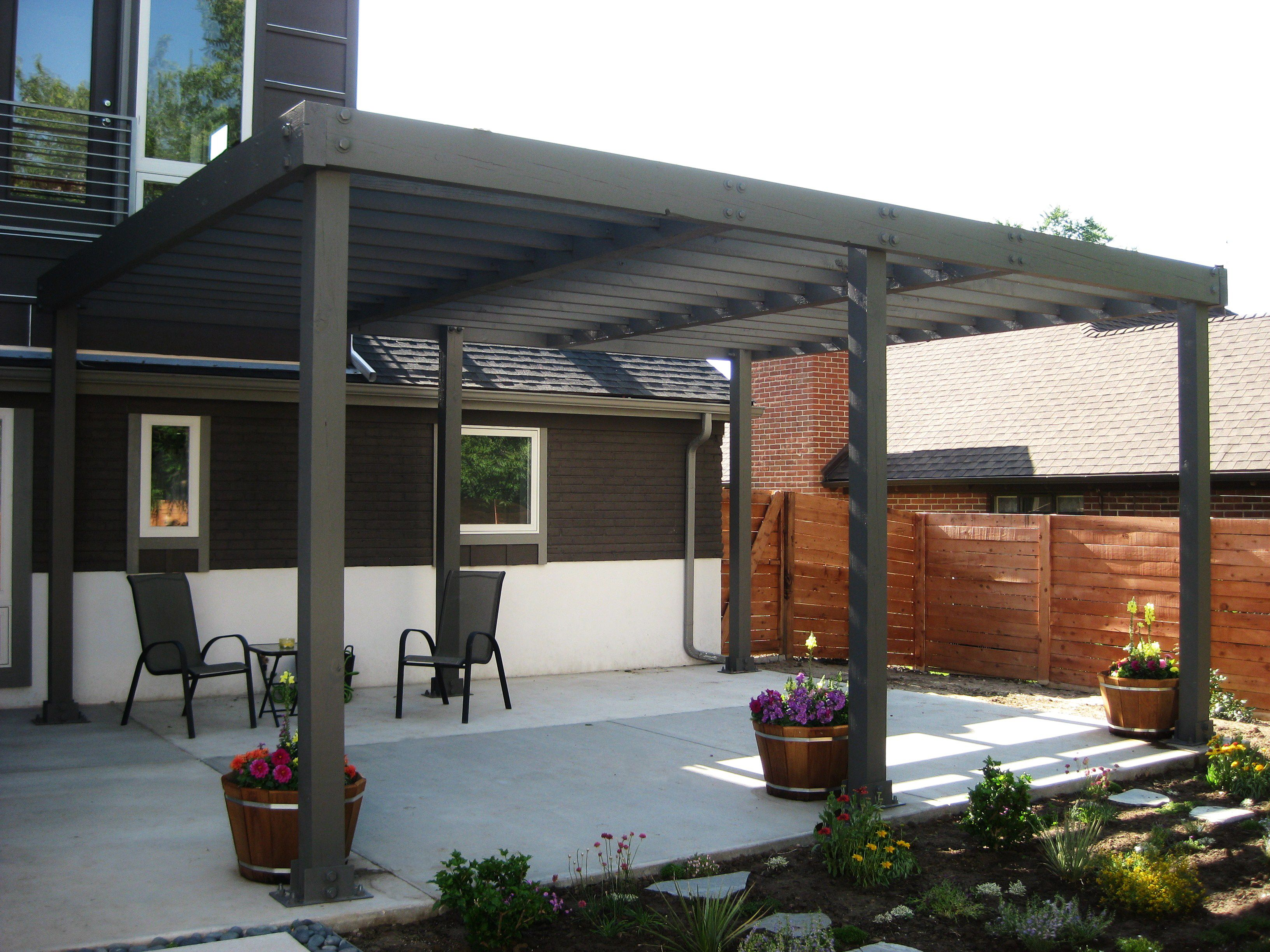 Modern Design Of The Exterior Pergola Idea With Grey Theme Of The