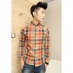 $14.90 Casual Style Simple Design Shirt Collar Buttons Embellished Long Sleeves Polyester Shirt For Men
