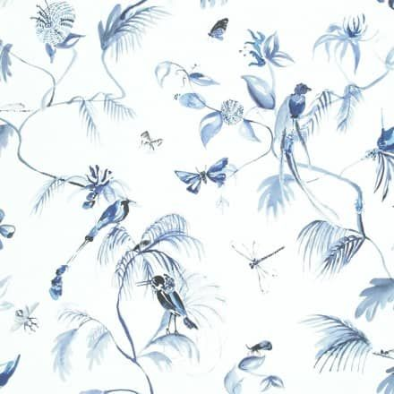 Classic Bird Of Nature White And Blue Wallpaper R4181 - Walls Republic