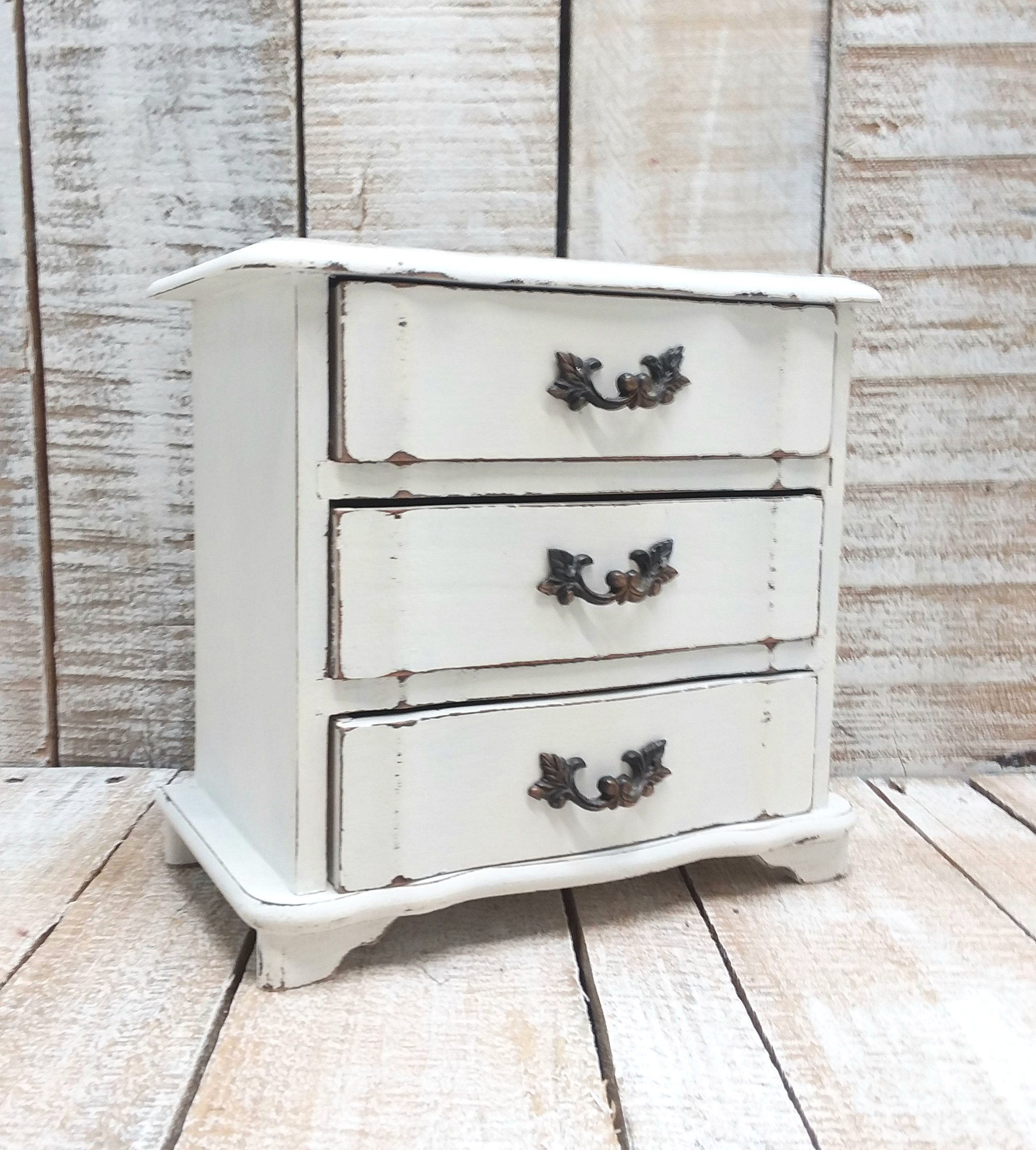 Small Shabby Chic Vintage Wooden Jewelry Box Painted Antique White