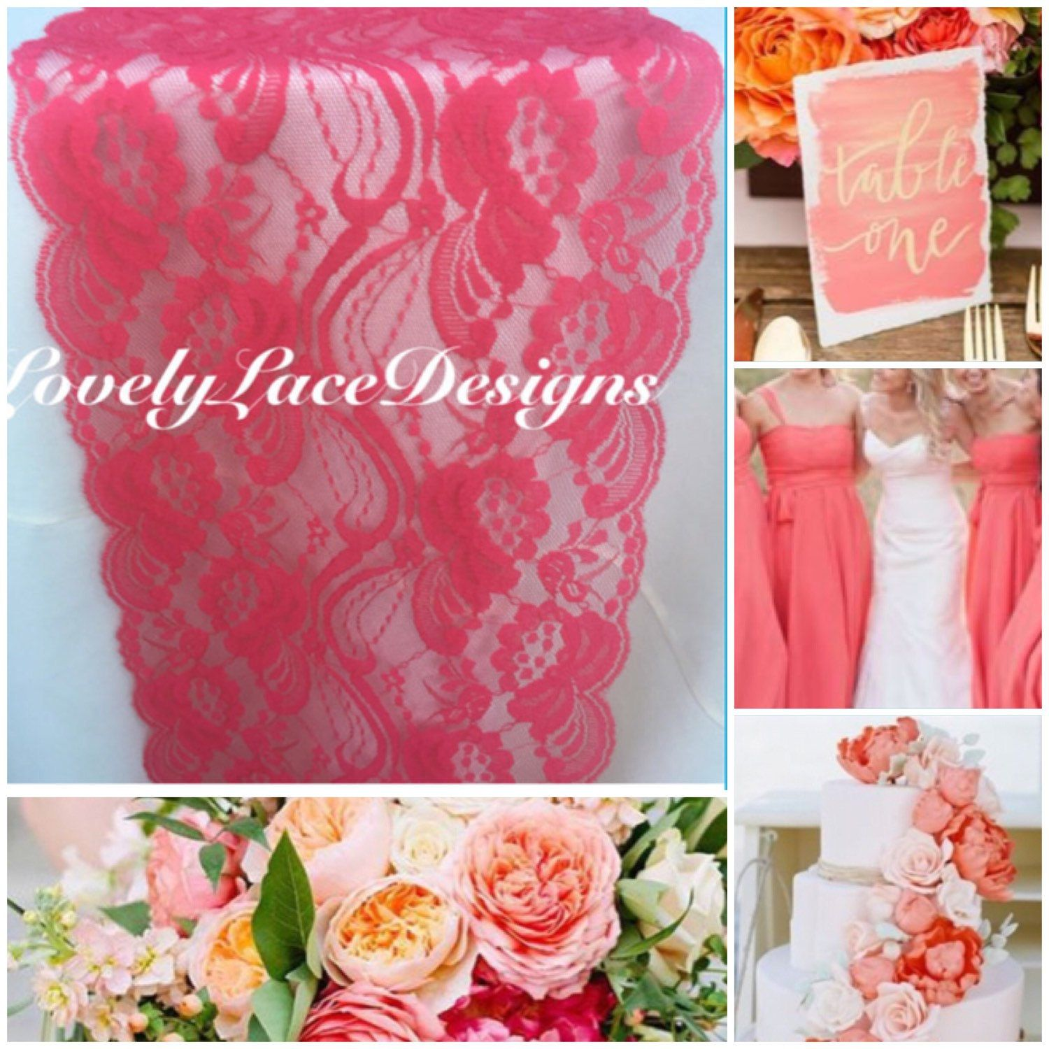 Coral Lace Table Runner/3ft-10ft long x 7\