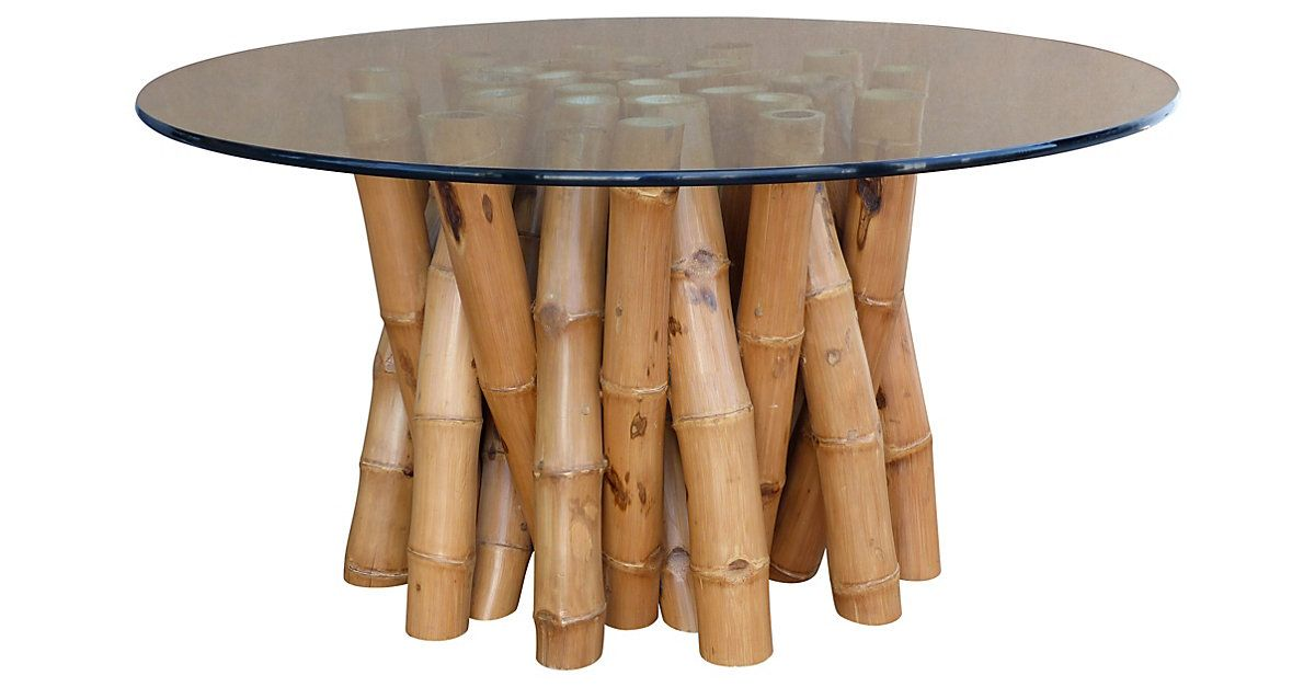 Bamboo Dining Table W Glass Top Bamboo Furniture Glass Kitchen