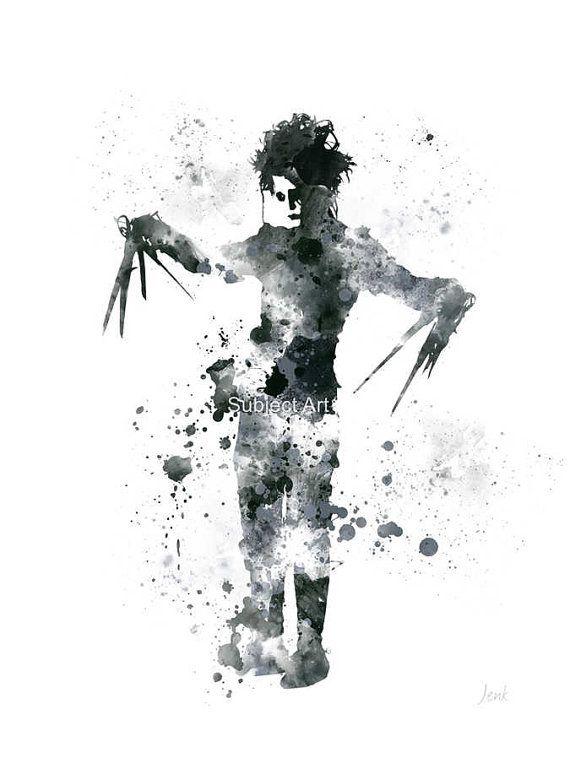 Edward Scissorhands ART PRINT illustration, Johnny Depp, Movie, Wall ...