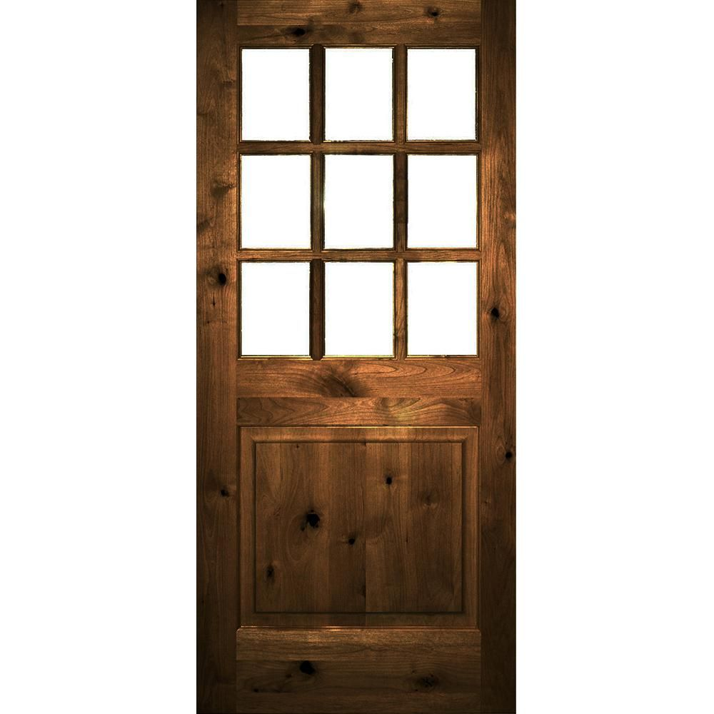 Krosswood Doors 36 In X 80 In Rustic Knotty Alder Right Hand Clear Low E Glass 9 Lite Provincial Stain Wood Single Prehung Front Door Phed Ka 557 30 68 134 Rh Stained Doors Front Door Staining Wood
