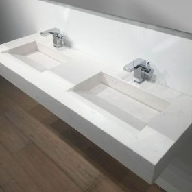 Pierre Calacatta Plan Double Vasque Salle De Bain Suspendu X - Vasque suspendue salle de bain