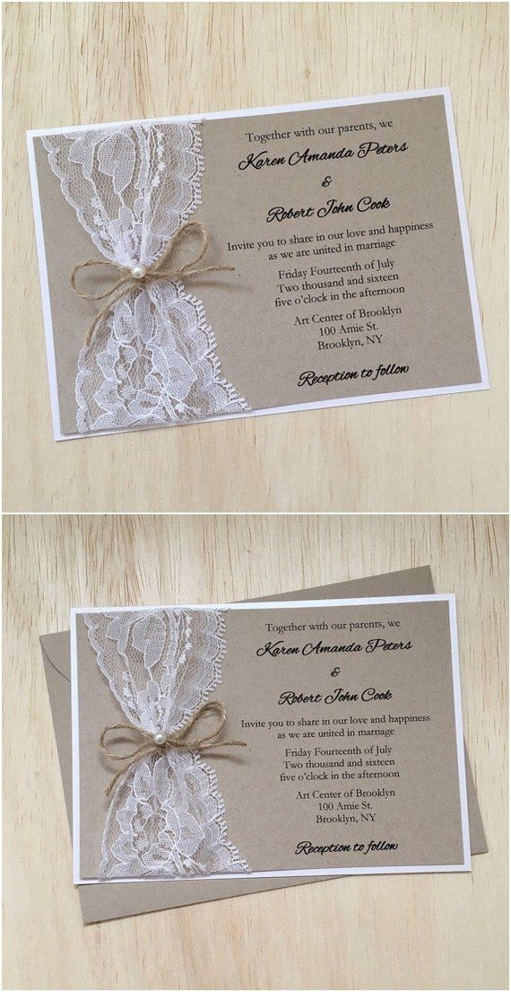 rustic country wedding invitation with twine pearl