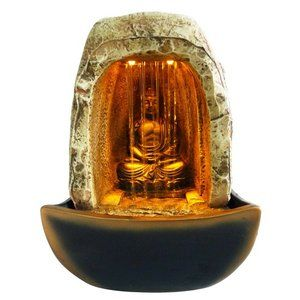 Alpine Buddha Resin Tabletop Fountain With Led Light Indoor