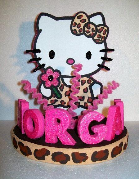 HELLO KITTY 3D leopard custom cake topper by TishToppers on Etsy