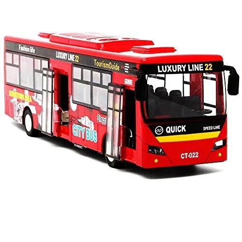 Bocks Pull Back Bus Alloy Die Cast Toy Vehicles 9 Model Car City Bus With Flash Lights Music Red Diecast Bus It Cast