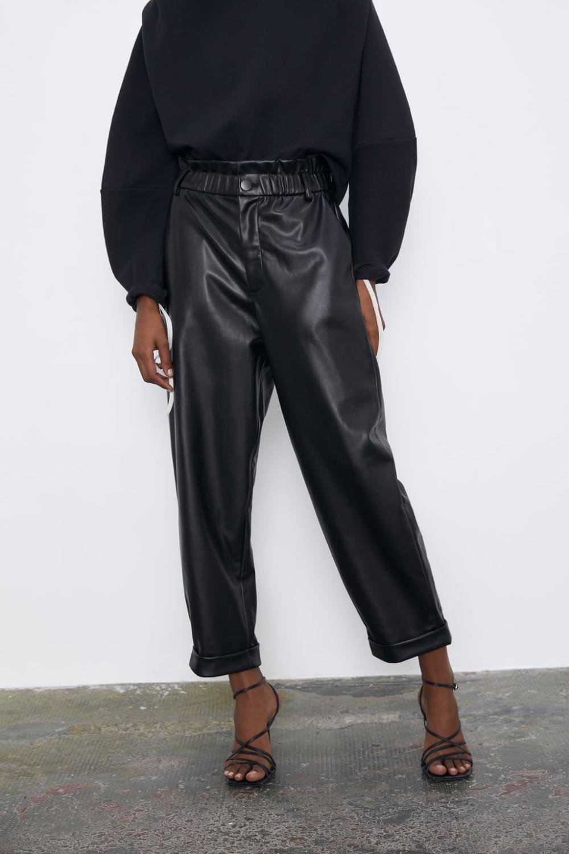 FAUX LEATHER SLOUCHY PANTS #leatherpantsoutfit
