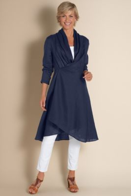 Gossamer Linen Shirt - Long Sweater Jacket, Drape Cardigan Sweater   Soft Surroundings