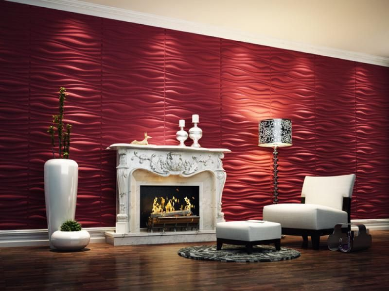 Contemporary 3d wallpaper in lounge space with red color for Cool house wallpaper