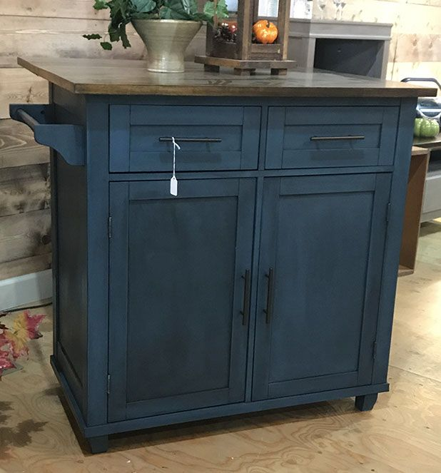 Dark Blue Chalk Paint Kitchen Cabinets: Kitchen Island Painted In Aubusson Blue Chalk Paint® And