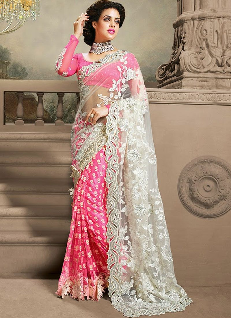 27d15dc145 Fascinating White And Hot Pink Net Cut Border Work Saree. Fancy Designer  Cut Patch Border Work And Pair With Matching Blouse.