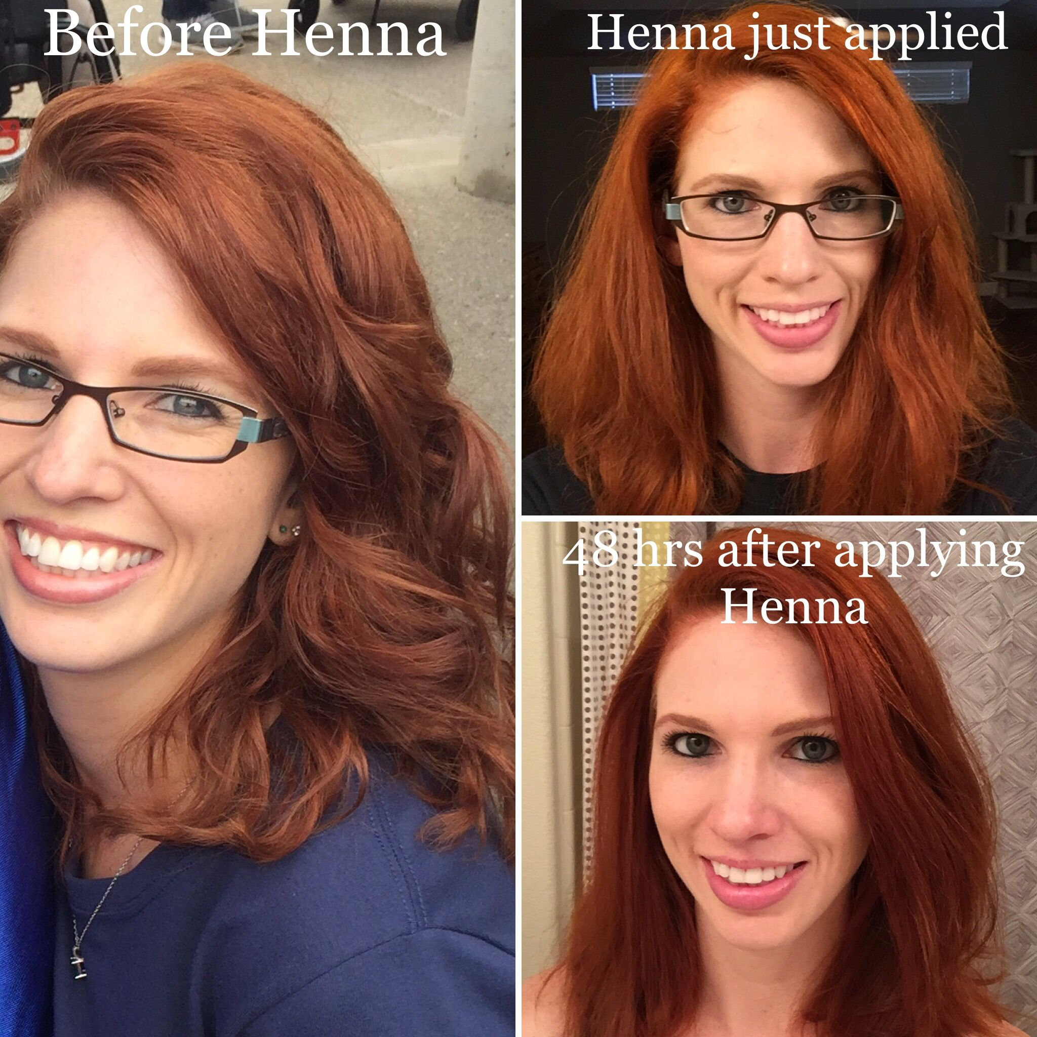 Henna hair: before and after pics  Plus 48 hours after to