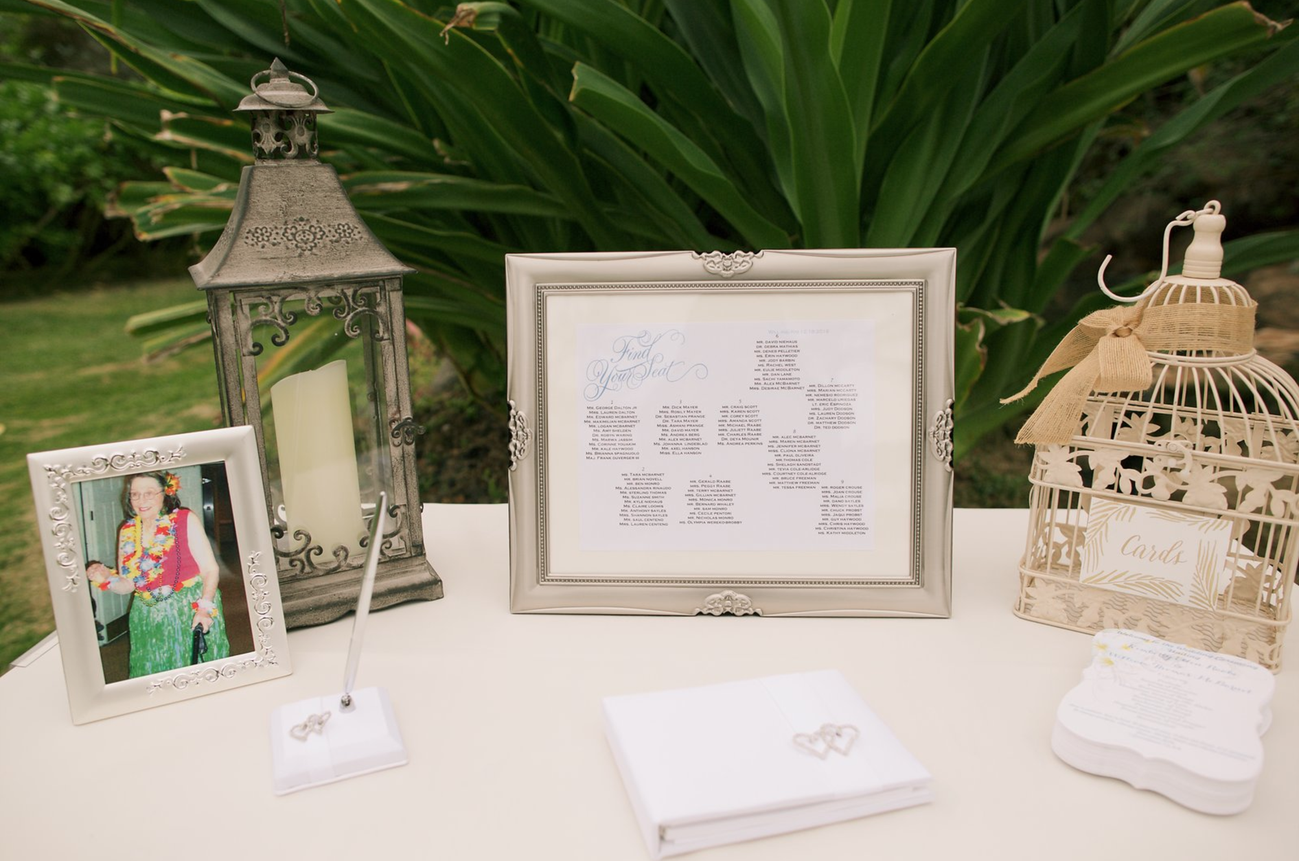 Wel e Table with Seating Chart Bird Cage Card Box & Guest Book