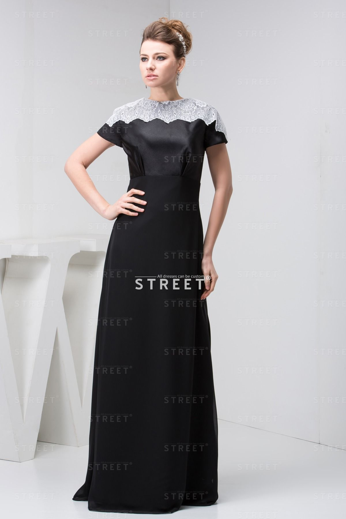 Best Black Conservative Plain Sweep Train Women Wedding Guest Dress black long fashion
