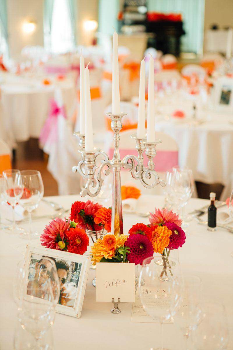 Bunte Vintage Hochzeit Im Schloss In Rot Orange Pink Tischdeko
