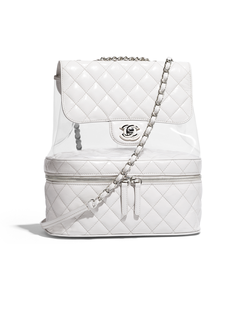 11379a3fa Flap bag, crumpled calfskin, pvc, resin & silver-tone metal-white - CHANEL