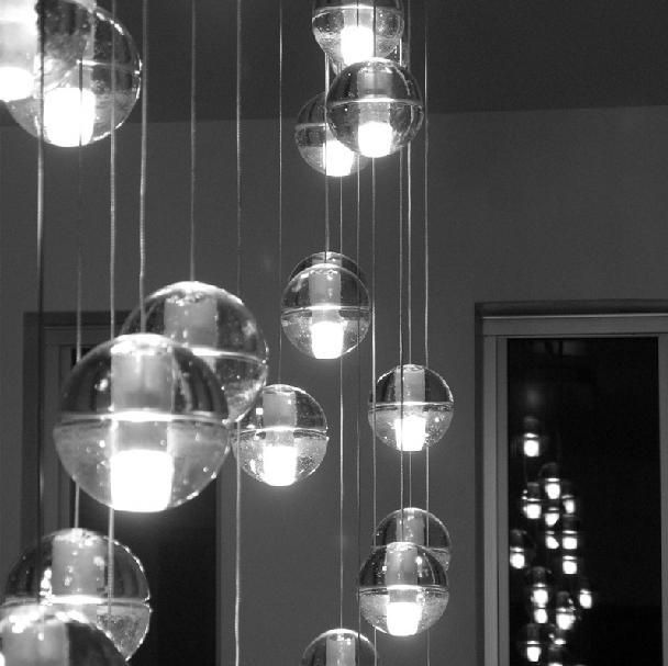 Plafondverlichting Glas Led Crystal Glass Ball Pendant Lamp Meteor Rain Ball