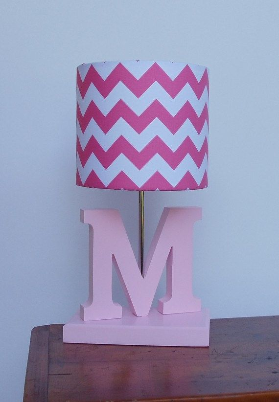 Handmade Small Hot Pink/White Chevron Lamp Shade