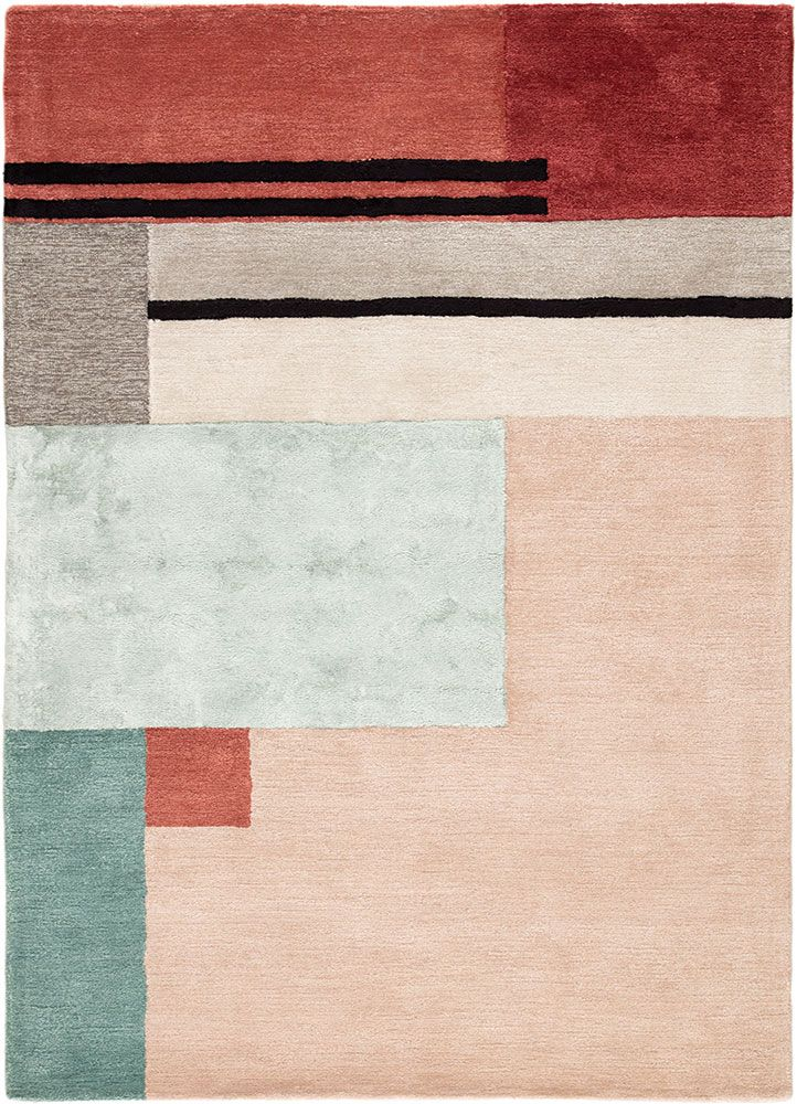 The Sleek And Angular Syntax Collection Infuses Interiors With Mid Century Modern Style A Playful Color Block Pattern And Textured Carpet Rugs Rugs On Carpet