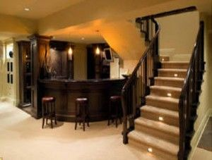 Lights in basement game room bar stairs if i was building a gorgeous basement round bar lights on the stairs hubbys mancave do it yourself home ideas solutioingenieria Image collections