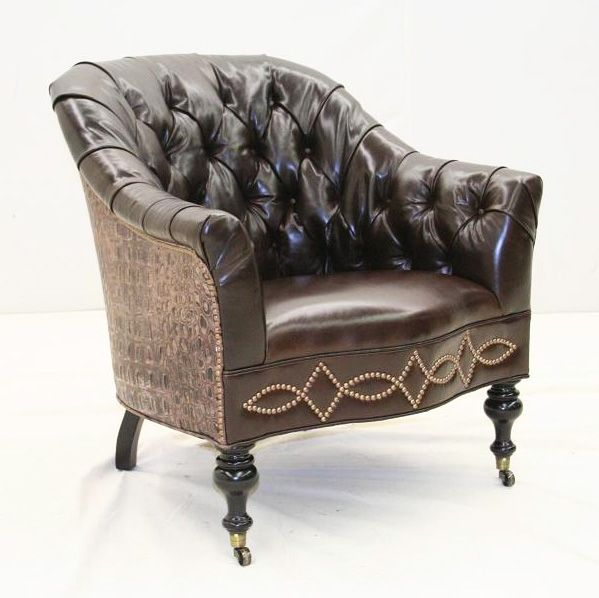 old hickory tannery walnut brown leather chair western accent chairs a special nail head design - Old Hickory Furniture