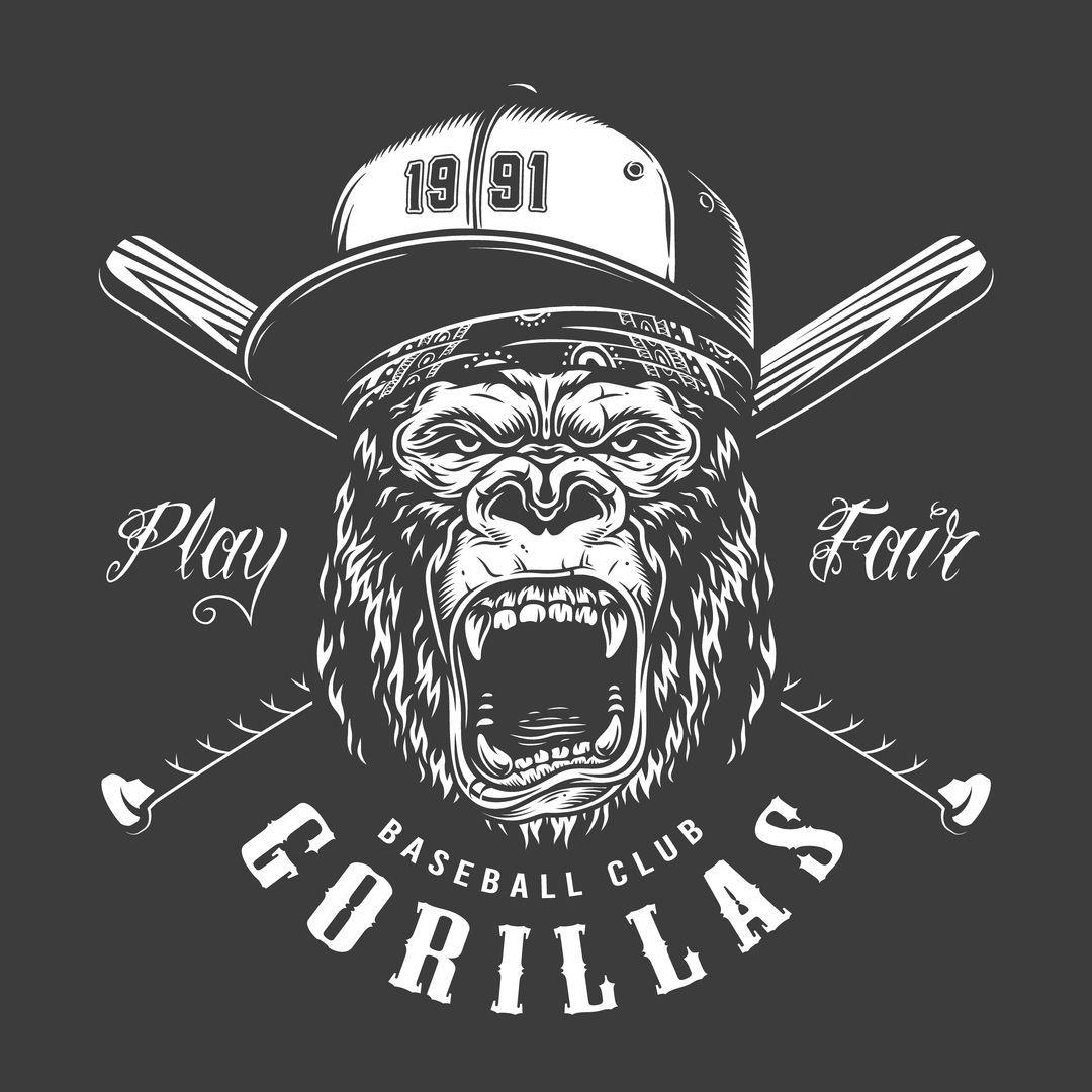 Gorilla Baseball Illustration En 2020