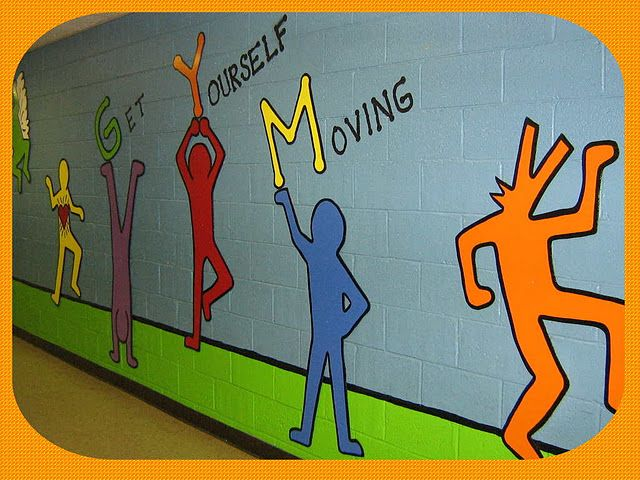 Elementary Super Hero Classroom Ideas ~ Keith haring inspired mural for an elementary school gym