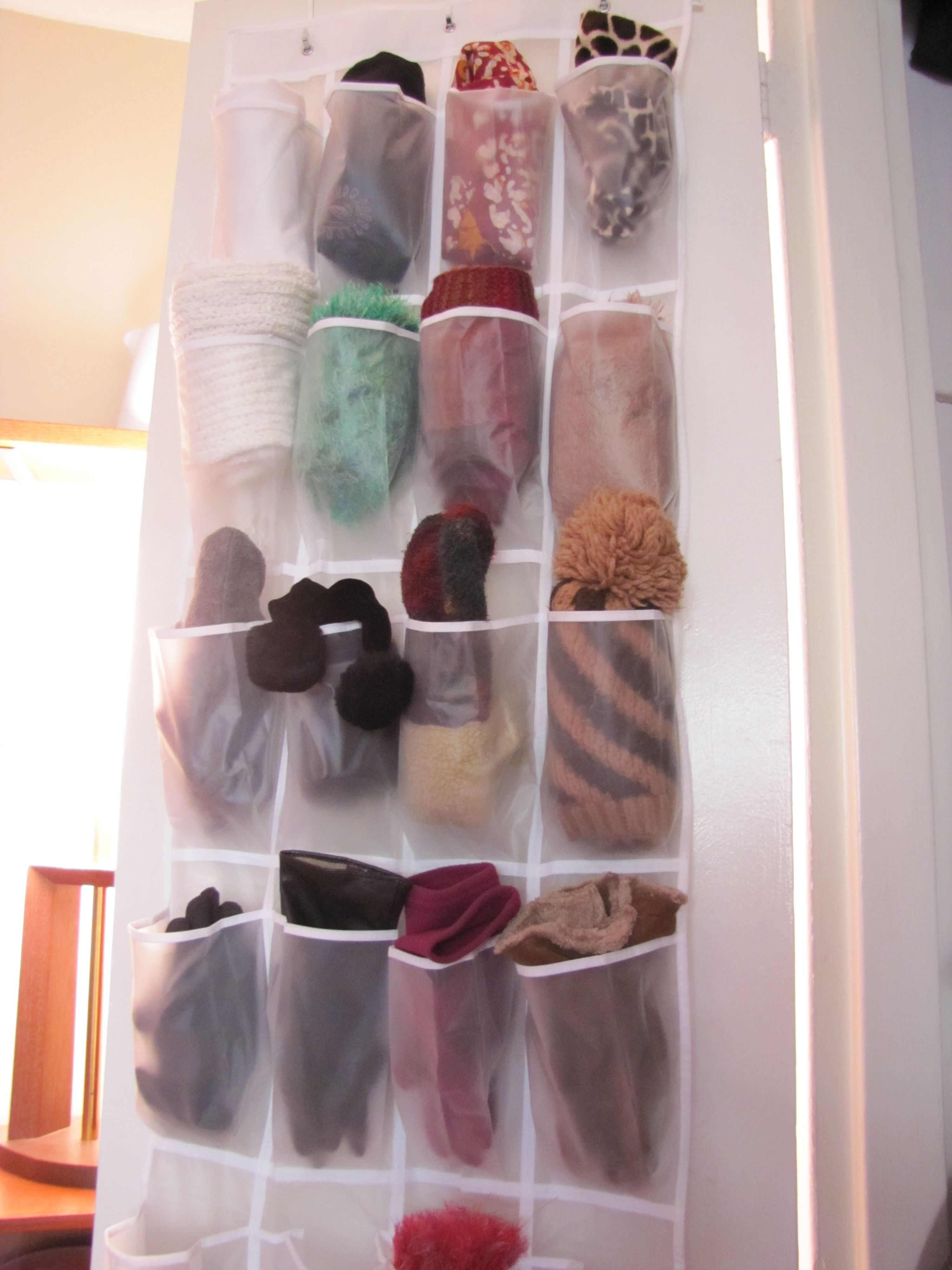 12 Insanely Creative Ways To Store Hats Gloves Scarves Sweaters Coats And More Winter Accessories Storage Winter Clothes Storage Scarf Storage