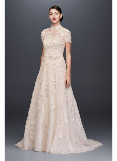 78875f585f37 Lace Appliqued A-Line Wedding Dress and Topper CWG790 | Wedding Love ...