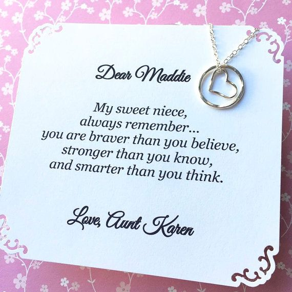 Wedding Gift For Aunt: Gift For NIECE Necklace Sterling Silver HEART