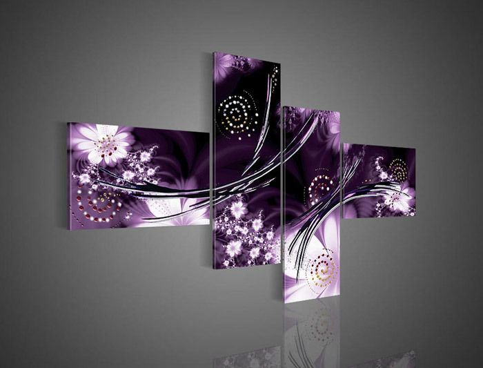 4 Piece Wall Art Modern Abstract Fantasia Purple Oil Painting On Canvas Paintings Contemporary For Home Modern Decoration Purple Wall Decor Purple Art Purple