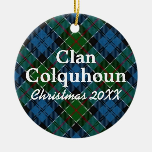 Clan Colquhoun Scottish Tartan Ceramic Ornament #clan #tartan #plaid #customize #blueandgreen #CeramicOrnament #plaid #tartan #pattern #gifting #giftgiving #giftideas #Christmasplaid