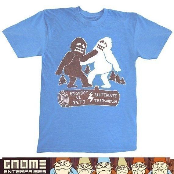 Bigfoot Vs Yeti Ultimate Throwdown Unisex Small Mens T Shirt Etsy Funny Tee Shirts Bigfoot Mens Tshirts