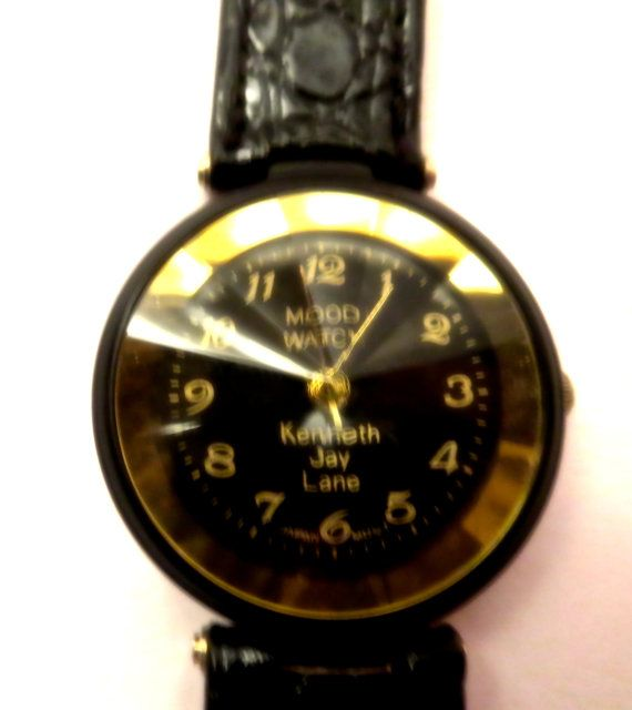 Mood Watch Kenneth Jay Lane Black and Gold Faux Alligator Band